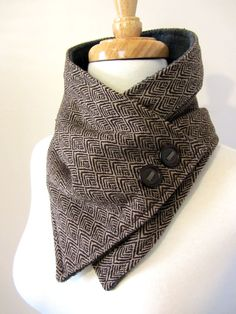 Chocolate Brown Print Neck Warmer Scarf with Brown by FashionCogs