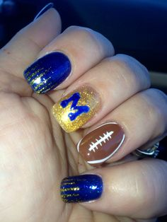 GO BLUE!! Michigan wolverines football nails!! Perfect for game time!!