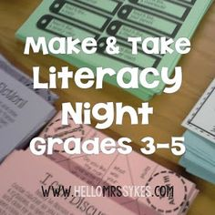 Make and Take Literacy Activities for grades 3-5 from Hello Mrs Sykes