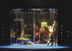 This production of Brecht's Baal at Teatrul Mic in Bucharest, Romania, in 2002 featured a set designed by Dragos Buhagiar that confined the hero inside a transparent cube