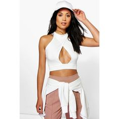 Boohoo Eliza Wrap Over High Neck Cut Out Crop (£7.64) ❤ liked on Polyvore featuring tops, cream, white off shoulder top, white lace bodysuit, off shoulder crop top, white body suit and high neck crop top