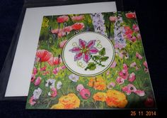 clematis cross stitched greetings card by LittleInsect on Etsy £1.99