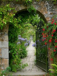 Brick archway, wrought iron gate into the gardens of Samares Manor, Jersey, UK by tracygray