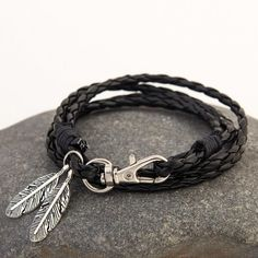 556c4173771 Leather Charm Gift Bangles Multilayer Feather Bracelet
