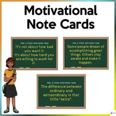 School can be tough sometimes and can be difficult for our students. Help your students to stay motivated, inspired, and learn from these difficulties.Our motivational note cards are a great reminder to help the students process their experiences, challenge them to think positively and promote a mor...