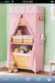 This pretty Covered Storage Unit and coordinating Set of 6 Baskets feature wood construction and matching fabric covers. These wonderful storage essentials are perfect for a child's bedroom or playroom Toy Storage, Storage Spaces, Storage Baskets, Kids Decor, Diy Home Decor, Decor Ideas, Ltd Commodities, Girls Bedroom, Bedroom Ideas