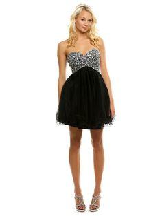 Black, Tulle, Strapless Dress