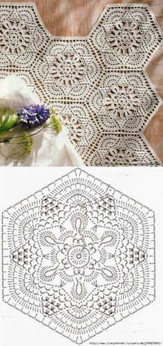 Crochet Motif - Free Crochet Diagram - by carlani Crochet Doily Diagram, Crochet Motifs, Crochet Squares, Thread Crochet, Crochet Crafts, Crochet Doilies, Crochet Flowers, Crochet Lace, Crochet Projects