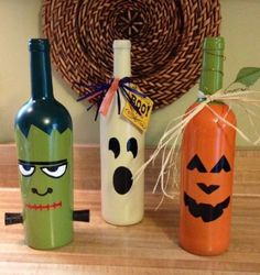 HALLOWEEN-hand-painted-WINE-BOTTLES-set-3-GHOST-JACK-OLANTERN-FRANKENSTEIN