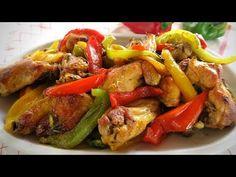 POLLO IN PADELLA CON I PEPERONI - Ricetta Facile - YouTube Italian Dishes, Italian Recipes, Romanian Food, Gnocchi, Kung Pao Chicken, Pesto, Chicken Recipes, Brunch, Food And Drink