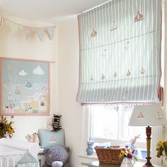 Fabric 130 - Duck Egg Large Ticking Stripe Bird & Boat l Susie Watson Designs