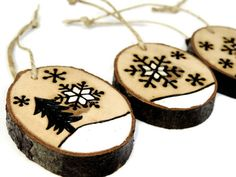 Rustic winter wonderland ornament set: Wood burned tree slices by SimplyTwitterpated