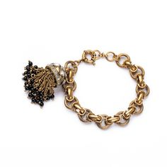 Pave and Brass Tassel Bracelet