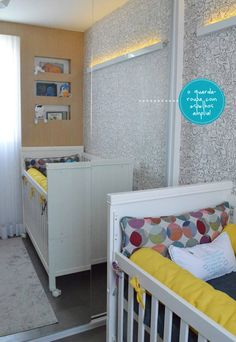The cabinet of mirrors to enlarge the room. #baby #room #theme #monsters #cute #interior #design #casadevalentina