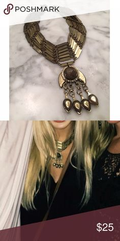 Free People gold statement necklace Definitely a statement piece | gold | sits higher on chest | can post additional pictures or lengths if wanted (: Free People Jewelry Necklaces