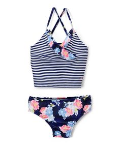 Take a look at this Navy Strope & Floral Tankini - Infant & Girls today!