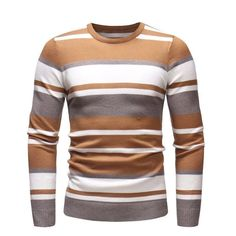 Men Sweater O-Neck Causal Hombre Striped Knitwear Brand Fashion Design – kidenhome Mens Striped Sweater, Men Sweater, Jumper, Fashion Brand, Mens Fashion, Fashion Design, Fashion Styles, Mens Winter Sweaters, Silk Screen T Shirts