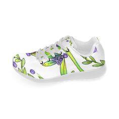Dancing Greeen, Purple Vines, Grapes Zendoodle Women's Running Shoes (Model 020)