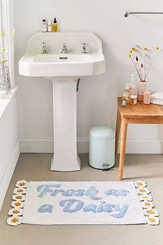 Fresh as a Daisy Bath Mat - white at Urban Outfitters Bathroom Rugs, Bath Rugs, Bathroom Inspo, Bathroom Inspiration, Bathroom Ideas, Bathrooms, Bathroom Carpet, Neutral Bathroom, Boho Bathroom