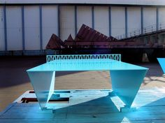 blue ping pong table metal