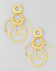 Interlocked-Hoops Drop Earrings by Herve Van Der Straeten at Neiman Marcus.