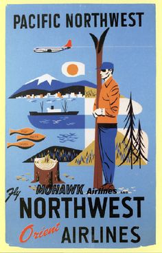 Northwest Orient Airlines vintage travel poster – Pacific Northwest