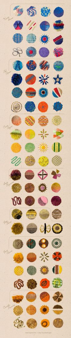Karen Barbé | Textileria: 96 embroidery samples. Would be fun to do a sampler like for display