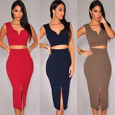 Sexy Solid Color V-neck Tops + High Waist Skirt Two-piece Set