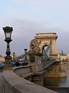 Walking across the Chain Bridge in Budapest.