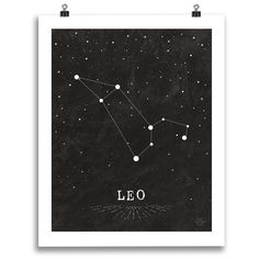 This newest addition to the Zodiac print line features an astrological sign graphic on a starry faux chalkboard background. The design is black and white, with a white border to give it that pop when