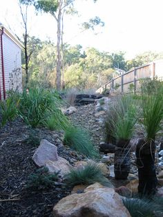 16 Small Backyard Ideas Easy Designs for Tiny Yard - Make it Look Big, Spacious and Cozy Dry Garden, Garden Beds, Park Landscape, Landscape Design, Landscaping With Rocks, Backyard Landscaping, Australian Native Garden, Dry River, Garden Images