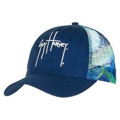 6e89a85783941 Guy Harvey Out of the Blue Trucker Hat is available in Royal Blue and White