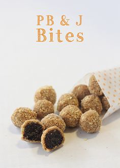 PB & J Bites. Only 3 Ingredients. You can use any dried fruit and any nut/seed butter. Great for lunch boxes and snacks!