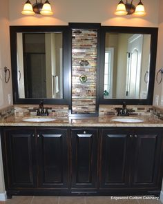 Replace vanity with granite, glass backsplash and mirror frames