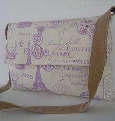 Messenger Bag / Crossbody Bag / Laptop / iPad / Diaper Bag in French Stamp. $35.00, via Etsy.