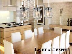 3 Light Hanging Crystal Linear Chandelier Fixture, Modern Flush Mount Ceiling Light Fixture for Entry, Dining Room, Bedroom (8)