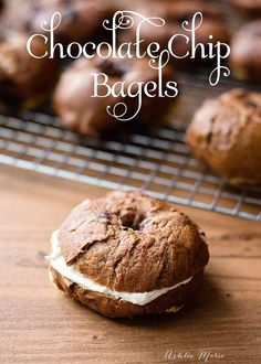 chocolate chip bagels are slightly sweet delicious lunch