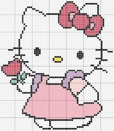 Hello Kitty perler bead, cross stitch or applique pattern Cross Stitch Baby, Cross Stitch Charts, Cross Stitch Designs, Cross Stitch Patterns, Crochet Hello Kitty, Chat Hello Kitty, Pixel Crochet, Crochet Chart, Cross Stitching