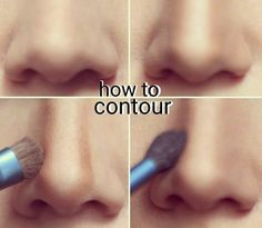 Thursday Tip. An easy step by step contour tip for noses. Highlight down the middle, darker/bronzer down each side to mimic a shadow for a sleeker nose. Then blend blend blend.