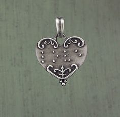 """""""At First Sight"""" braille heart pendant"""
