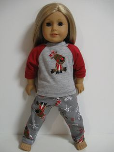 American Girl Doll Clothes PJ Party Rudolf by 123MULBERRYSTREET