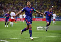 Radamel Falcao of Colombia celebrates after scoring his team's second goal during the 2018 FIFA World Cup Russia group H match between Poland and. Carlos Valderrama, Fifa World Cup, Poland, Russia, Goals, Running, Group, Celebrities, Sports