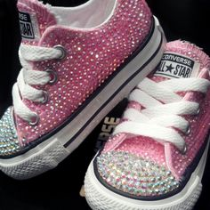 9127afc164b Infant   Toddlers Girl Pink Swarovski Rhinestone Converse