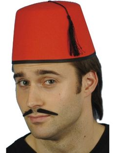 Red Felt Fez, I couldn't find a plain red fez which Aladdin has in the disney film- so I got this one and cut the black toggle. (ALADDIN)