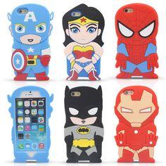 Новый 4.7 ''для iphone 6 6 S Случае Мягкого Силикона 3D Супер герой Бэтмен Капитан Американской ironman Мультфильм Случаи мобильного телефона Задняя Крышка