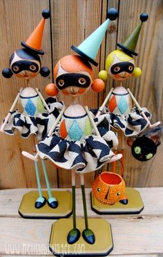 """23"""" mixed media mascots by Melissa Belanger for Ghoultide Gathering 2014 ~ I know they're not peg dolls but they fit here."""