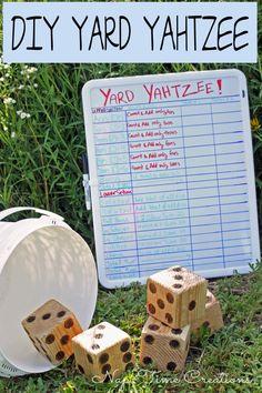 Yard Yahtzee and Summer Fun. Easy to make, fun to play! Yard Yahtzee and Summer Fun. Diy Yard Games, Diy Games, Backyard Games, Lawn Games, Backyard Ideas, Family Yard Games, Cozy Backyard, Yard Yahtzee, Yahtzee Game
