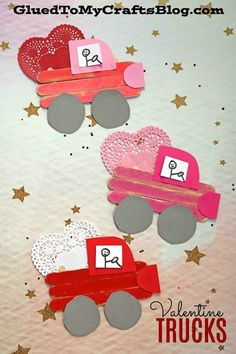 Popsicle Stick Valentine Love Truck – Kids Crafts Idea - Crafts for Kids Valentine's Day Crafts For Kids, Valentine Crafts For Kids, Daycare Crafts, Toddler Crafts, Preschool Crafts, Holiday Crafts, Kids Diy, Spring Crafts, Adult Crafts