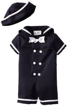 BABY BOYS ZIP ZAP NAUTICAL//SAILOR SUIT WHITE /& NAVY ROMPER WITH HAT ALL IN ONE