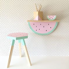 The Watermelon Collection has been Hand built and Painted. A proven favorite in children's bedrooms !!!Watermelon Shelf Dimensions - 45cm L x 9.5cm D x 22.5cm HWatermelon Stool Dimensions - 41cm H x 27cm - $80Please Email us For Stool Orders HERESHIPPING & DELIVERY: These items are made to order pieces ... If we have your selection in stock it will be with you within 7 days ... otherwise please allow up to 2-3 weeks to hand make and ship